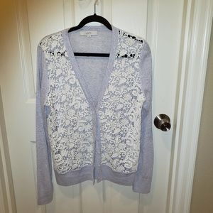 LOFT Lace front button cardigan Size L